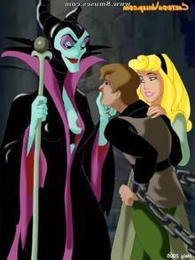 Aurora, evil witch Maleficent and prince Phillip in BDSM action